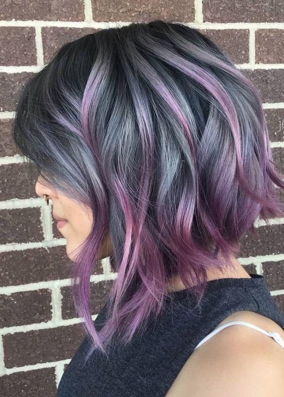 tunsori bob nuante violet cenusiu
