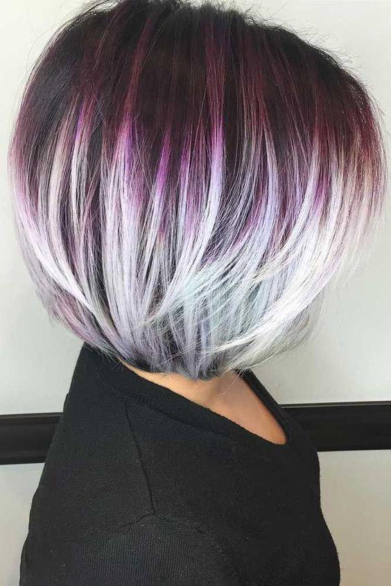 tunsori bob nuante violet blond