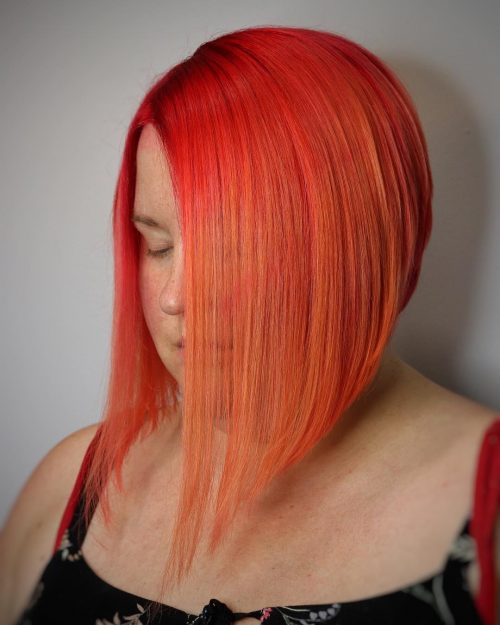 Tunsori bob in nuante de roscat portocaliu