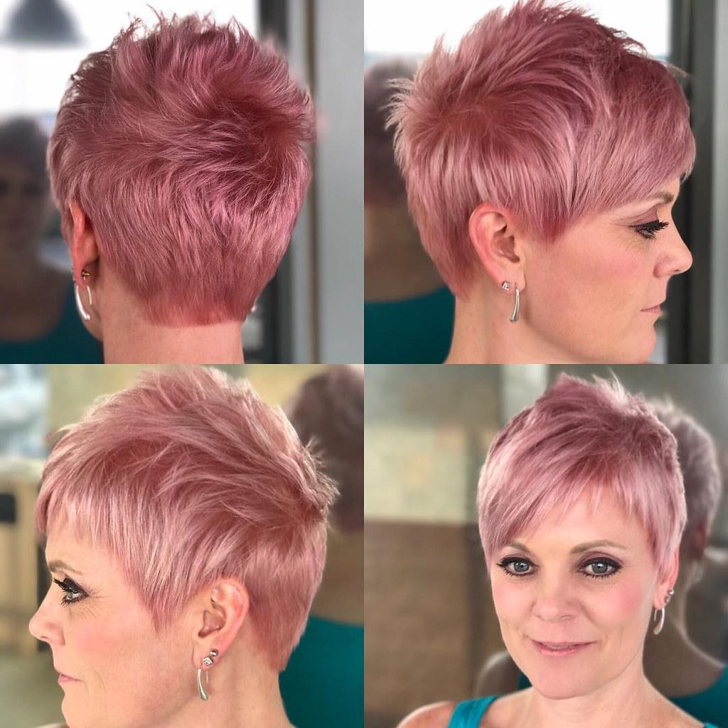 tunsori pixie nuante par roz inchis