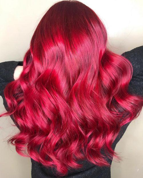 Roscat aprins culoare par cireasa