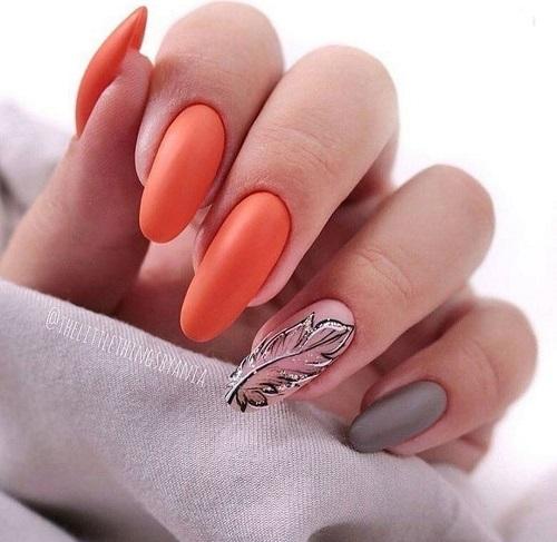 Unghii gel portocaliu